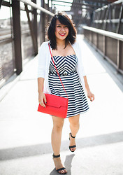Winnie Angel - Material Girl Wedges, Forever 21 Striped Dress, Banana Republic White Cardigan - Red White and Blue