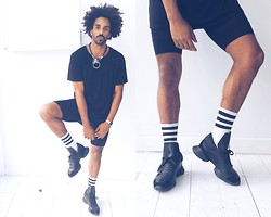 Oli Worlds - Rick Owens Monsters, American Apparel Stripe Socks, Topman Oversize Black Tee, Bond Hardware Dope Necklace, Vintage Licra Shorts - Rick Owens Monsters