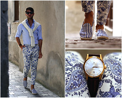 Filippo Fiora - Zara Pants, Hamilton Watch, Manebì Espadrilles - AEOLIAN ISLANDS