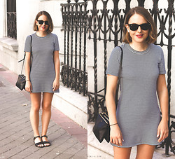 Trini Gonzalez - Ray Ban Sunglasses, Theory Dress, Céline Bag, A.P.C. Sandals - Summer 2014