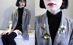 Raissa Palacios - Thrifted Speckled Gray Cardigan, American Apparel Solid Cotton Thigh High Socks, H&M Short Sleeved Turtleneck, Thrifted Vintage Brooches, Saint Laurent Grenat Satisfaction - Brooched