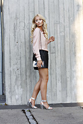 Marie Wolla - Selected Femme Blouse, Just Female Leather Skirt, Zara Minaudière, Din Sko Silver Heels - Nude me up!