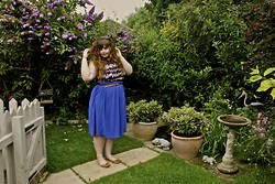 Amy Worcester - Purple Butterfly Top, Blue Midi Skirt - Summer warmth