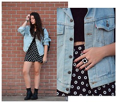 Marissa Jennings - Divided Daisy Skirt And Suspenders, Levi's® Light Denim Jacket, Thrifted Fuzzy Top, Thrifted Daisy Ring - + Save the Daisies +