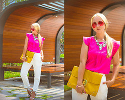 Olga Choi - Oasap Blouse, Choies Pants, Anna Xi Sandals, Chic Wish Necklace, Zerouv Sunglasses, Michael Kors Watch, Asos Clutch - Aviator