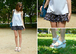 Victorias Run - H&M Top, Zara Skirt, Parfois Bag, Stradivarius Sandals, & Other Stories Sunglasses - Garden