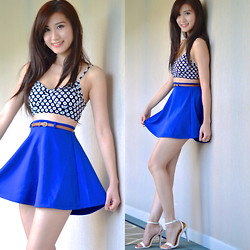Kerina Mango - Forever 21 Skater Skirt - Royal Blues