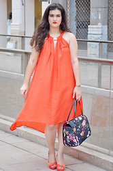 Amanda R. - H&M Dress, Ted Baker Bag, Geox Heels - Asymmetric orange - SomethingFashion