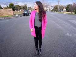 Suri May - Sportsgirl Coat, & Other Stories Knit, Cos Necklace, Topshop Ankle Boots - Hot Pink for Winter