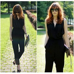 Jules S - Mango Overall, Mango Clutch - The black Jumpsuit