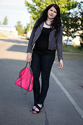 Elly E. - H&M Jacket, Stella Mccartney Bag, Mavi Jeans, Miu Shoes - Pink Falabella