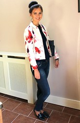 Jodie Barry - Zara Floral Jacket, Zara Navy Top, Mesh Sleeves, Michael Kors Jet Set Top Zip Saffiano Tote, Zara Navy Blue Jeans, Zara Navy Patent Flats - Floral Days