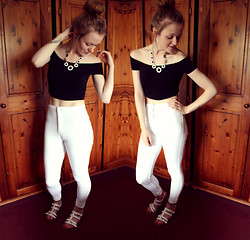 Beth Kennett - New Look Off The Shoulder Crop Top, Topshop Joni Jeans, New Look Strappy Sandals, New Look Daisy Necklace - I'll Brush You Off My Shoulder With An Unforgiving Hand.