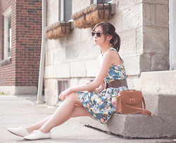 Sabrina Kwan - H&M Lace Sneakers, Floral Dress, Asos Bag - Everything in transit