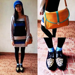 Pauline P. - Dress, H&M Leggings, Burlington Ankle Socks, Creepers, Satchel - Cold & Blue
