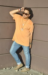 Genniel mark Angeles - Uniqlo Pastel Orange T Shirt, Skinny Denim Pants - BASIC!!!