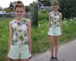 The Fashion Moodboard - Ebay Tropical Print Tee, Ebay Vintage Inspired Shorts, Thrifted Sandals - Ebay two piece suit