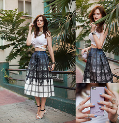 Viktoriya Sener - Young Hungry Free Top, Chic Wish Skirt, Clutch, Mango Sandals, Anyshapes Case, H&M Necklace - BLACK LACE/CHICWISH $100 GIVEAWAY