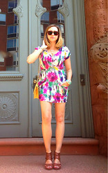 Amy Breckenridge - Forever 21 Multicolor Dress, Gucci Vintage Bag, Dolce Vita Criss Cross Wedges, Owl Bracelet - Painted Mini