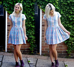 Sophie Bee - Oxfam (Charity Shop) Gingham Dress, Wild Clothing Plum Desert Boots, Etsy My Neighbour Totoro Necklace - Summer Pastel Gingham