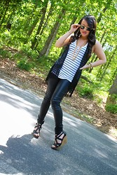 Cassandra Dotzel - Ray Ban 60's Vintage Sunglasses, Kohls Long Chain Necklace, Xhilartion Fringed Vest, Mossimo Striped Tank, Gray Denim Faux Leather Pants, Dolce Vita Strapped Wedges, Michael Kors Chronograph Watch - I Pity the Fool !
