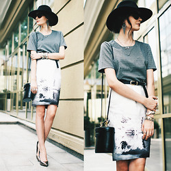 Anna Brain - Asos Hat, Q2 Grey Knitted Top, Nude Skirt, Oasap Sunglasses, Steve Madden Heels - EAST IS A DELLICATE MATTER
