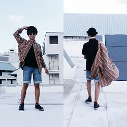 Haha Hariz - Bowler Hat, Stained Teashades, Plaid Flannel, Denim Shorts, Black Wingtips - Harvest