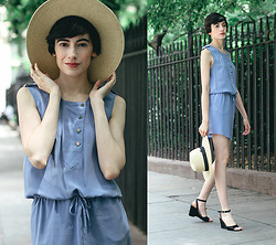 Cara Jimenez - Comptoir Des Cotonniers Dress, Free People Straw Hat, Vintage Wedges - URBAN AMISH