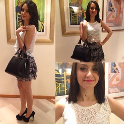 Valeria - H&M Skirt, Miu Bag, Pandora Rings - Black, white and lipstick