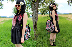Anja - Mister*Lady Colorful Backpack, Tally Weijl Little Black Faux Leather Dress, H&M Black Slippers - We keep it moving so we don't get lost.