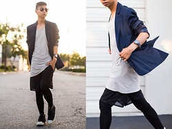 Tommy Lei - Boohoo Navy Blazer, Damir Doma Draped Tanktop, Fossil Defender Watch, Boohoo Mesh Shorts With Leggings, John Varvatos X Converse High Tops, Lzzr Jewelry Reck Bar Necklace, Tom Ford Henry Sunglasses - DRAPED