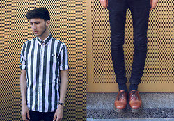 David Whitfield - Fred Perry X The Specials Shirt, Cheap Monday Jeans, Dr. Martens 1461 Tan - Golden