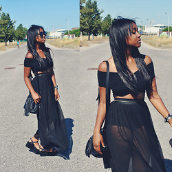 Muny B - Lovely Whole Sale Top, Replubic Skirt, Zara Wedges, Oasap Sunglasses - Black Gypsy