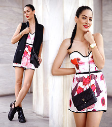 Konstantina Tzagaraki - Romper Playsuit, Vest, Chanel Bag - Gimme an honest frown over a false smile, any day..