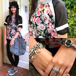 Jodie Barry - House Of Fraser Black Cloche, Primark Floral Jersey Style Top, Zara Black Leggongs, Primark Leopard Print Shoes, Gucci Silver Watch, Topshop Stackable Rings, Tiffany & Co. Silver Chain - Accessories accessories