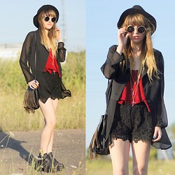 Agata P - Vessos Chiffon Blazer, Persun Persunmall Crochet Lace Shorts, Oasap Top - Don't Let Them See