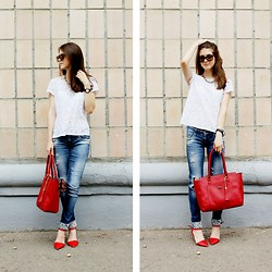 Alina Krasnaya - H&M Top, Stradivarius Jeans, Pull & Bear Heels, Mohito Bags, Ray Ban Glasses - LADY IN RED