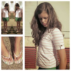 Emilia M. - Roxy Flip Flops, Corte Ingles Green Shorts, White & Pink Stripes Shirt - SUMMER