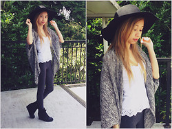 Taylor Wong - Forever 21 Classic Wide Brim Fedora, Forever 21 Drapey Batwing Cardigan, Vera Wang Simply Wedge Sneakers - Retro
