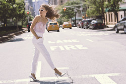 Sonya Esman - Cami Nyc Lace, Cameo The Label White Pants, Asos Sunglasses, Diane Von Furstenberg Dvf Heels - Uptown girl.