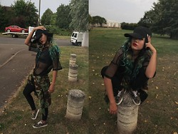 Kriste Mima - H&M Camo Trainiezz, A.P.C. Fish Cap, H&M Fish Net Top, Nike Sporty Bra - #bad#SOLDIER
