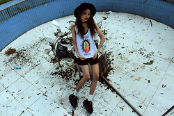 Vu Thien - High Heels Suicide Tank, Skirt, T.U.K Creepers, The Dead Bird Leather Choker - DON'T PRAY FOR ME