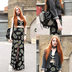 Olivia Emily - Missguided Bralet, Os Accessories Neptune Choker, Missguided Daisy Print Maxi Skirt, Missguided Denim Jacket, Rebecca Minkoff Backpack, Dr. Martens Boots - Daisy.