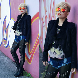 Priscila Diniz - Tights, Jacket, Shorts, Wig, Sunnies, Boots   On Sale! - Hiss