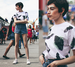 Cara Jimenez - Lost Apparel Feather Shirt, American Apparel Denim Shorts, Converse Sneakers - Coney Island