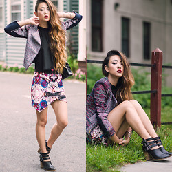 Jessica Wang - Anarchy Street Jewelry, Bcbg Jacket, Bcbg Top, Lovers + Friends Skirt, Seychelles Bootie - Kaleidoscope