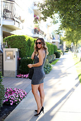 Alexandra G. - Gentle Fawn Bodycon Dress, One Fated Knight Leather Tote, J. Crew Suede Pumps - Bodycon