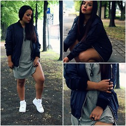 Camila Torres - Blk Dnm Bomberjacket, Vitaly Design Rings, Nike Air Force, Fear Of God La Dress  T Shirt - Ruggish Bone