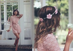 Georgina Walker - Desire Clothing Playsuit, Rose And Glory Crown, Office Shoes, Mac Makeup - Breathing out memories