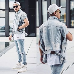 Mago Dovjenko - Giorgio Armani Destroyed Jeans Jacket, Les Artists Mesh T Shirt, Cheap Monday Destroyed Jeans, Kris Van Assche Multi Lace Sneakers, Super Retro Future Shades, Azs Snapback - CLEAN